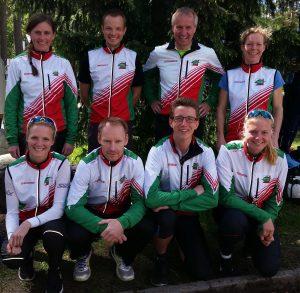 Lagoppstillinga til våre to lag i NM-sprintstafett, Tønsberg 2015.