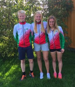 Klubbens løpere i NM-langdistanse. F.v. Tobias, Julie og Martine.