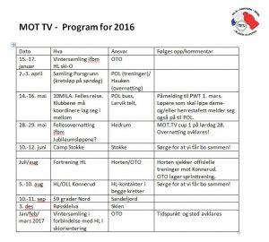 Programmet for MOT.TV i 2016.